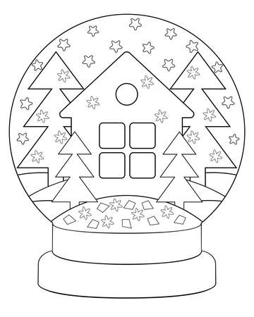 Snow globe with a house and trees - coloring antistress vector linear picture for coloring. Outline. Snow globe with stars, snowflakes and a house in the forest element for winter coloring book Illusztráció