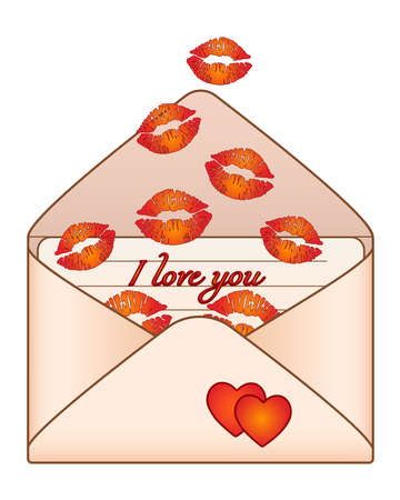 Letter with kisses - vintage envelope with love message and lip prints - vector full color picture for Valentine's Day. Kisses in an envelope - I love you.