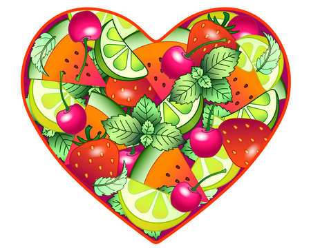 Heart with fruits and berries - vector full-color picture about the love of healthy food, veganism, vegetarianism, healthy lifestyle. Strawberry, cherry, lime, lemon, watermelon in the heart. 일러스트