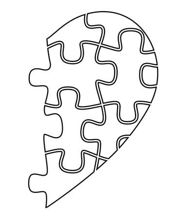 Half heart from puzzles - vector linear illustration with editable outline. Outline. Black and white, linear half of the heart for coloring. Unrequited love symbol