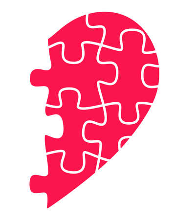 Half heart from puzzles - vector full color illustration. Red, half heart from puzzles. The symbol of unrequited love. Unrequited feelings, search for a partner Vettoriali