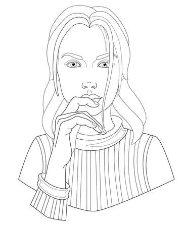 Lovely young girl in a sweater touches her lips with her hand - vector linear illustration for coloring. Portrait of a beautiful girl - face and hand. Head of a woman with long hair. Outline. Vettoriali