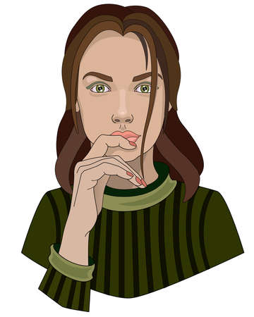 A lovely green-eyed girl in a green sweater touches her lips with her hand - vector full color illustration. Portrait of a beautiful girl - face and hand. Head of a woman with long hair. Vettoriali