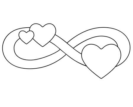 Infinity sign with three hearts - vector linear illustration for coloring. Eternal love symbol for Valentine's Day, polyamory symbol. Love and romance. Outline