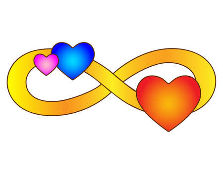 Infinity sign with three hearts - vector full color illustration. Eternal love symbol for Valentine's Day, polyamory symbol. Love and romance - color picture. Vettoriali