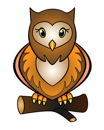 Owl - full color stock illustration. Little cute owl sits on a branch - a picture for children. Brown speckled nocturnal bird for a children's book or print