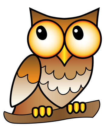 Owl - full color stock illustration. A small big-headed owl with big eyes sits on a branch - a picture for children. Brown speckled nocturnal bird for a children's book or print Vettoriali