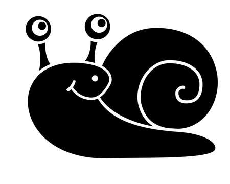 Snail silhouette - stock illustration for  pictogram. A shell with a smiling snail for identity or icons. Clam in a shell - silhouette sign.