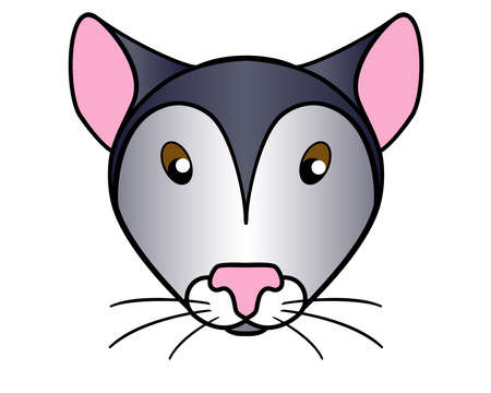 Mouse. Cute muzzle of a mouse or rat - vector full-color picture for children's books and goods. The throat of a gray mouse is a cartoon picture.