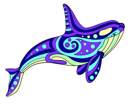 Killer whale - vector linear color illustration. Orca - multicolored stained glass or batik. Picture for printing on glass and other transparent materials. Marine mosaic with killer whale - element. Vettoriali