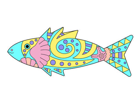 Small fish - vector linear color illustration. Small fish - multicolored stained glass or batik. Picture for printing on glass and other transparent materials. Marine mosaic is an element. Vettoriali