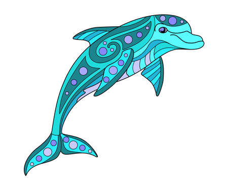 Bottle-nosed dolphin - vector linear color illustration. Jumping Dolphin - multicolored stained glass or batik. Picture for printing on glass and other transparent materials. Sea mosaic