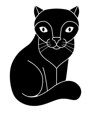 Cat silhouette. Cute kitty - black silhouette for a   pictogram. Sitting cat - picture for an icon or sign.