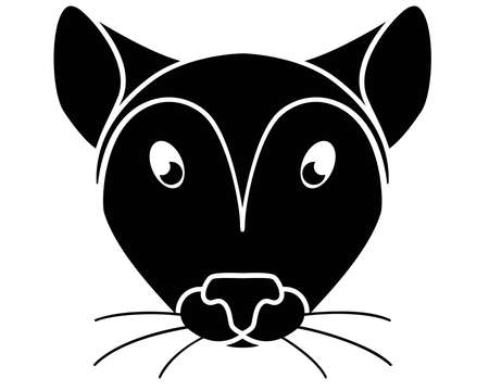 Silhouette of a mouse head. Cute cute mouse face - black silhouette for pictogram. Mouse muzzle - a picture for an icon or sign.