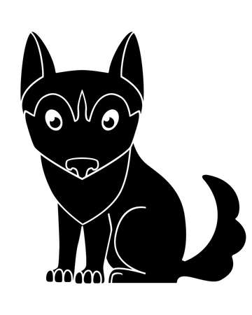 Dog silhouette. Cute husky puppy - black silhouette for  pictogram. Sitting malamute puppy - picture for an icon or sign. A little dog Vettoriali
