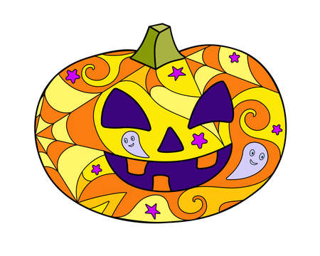 Halloween pumpkin - vector linear color illustration. Jack's lantern - multicolored stained glass or batik. Halloween mosaic with carved pumpkin.