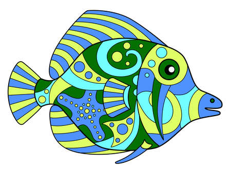 Tropical fish - vector linear color illustration. Fish from a coral reef in the ocean - multicolored stained glass or batik. Mosaic with an inhabitant of the sea.