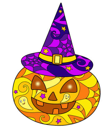 Halloween pumpkin in a witch's hat - vector linear color illustration for Halloween Jack's lantern - multicolored stained glass window or batik. Carved face pumpkin colored mosaic