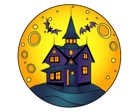 Halloween manor on a full moon background - vector linear color illustration for Halloween. Mansion with ghosts and bats - multicolored stained glass or batik. Scary house on the hill