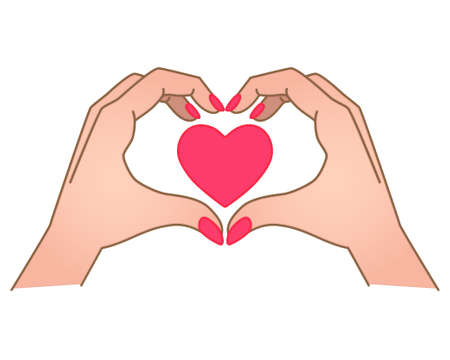 Hands show gesture - heart with heart inside - vector full color illustration. Heart sign shown by hands. Female hands with manicure show heart - Valentine's Day, love Vettoriali