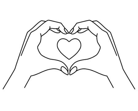 Hands show gesture - heart with heart inside - vector linear illustration for coloring. Heart sign shown by hands. Outline. valentine's day symbol - heart, love