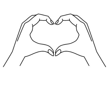 Hands show gesture - heart - vector linear illustration with editable outline. Heart sign shown by hands. Female hands with a manicure for coloring. Outline.