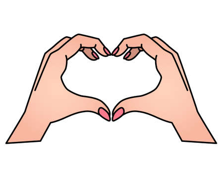 Hands show gesture - heart vector full color illustration. Heart sign shown by hands. Valentine's Day is a heart.