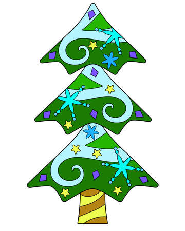 Christmas tree - vector linear color illustration of New Year and Christmas. Coniferous tree, spruce or pine decorated with Christmas tree toys and snow, snowflakes - multicolored stained glass window