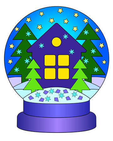 Snow globe with a house and Christmas trees - vector linear color illustration of New Year and Christmas. Snow globe with snowflakes, drifts - multicolored stained glass window or batik. Coloring. Hou