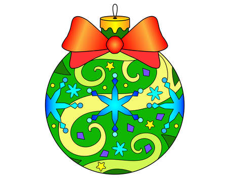 Christmas ball - vector linear color illustration of New Year and Christmas. Painted Christmas tree toy with bow and snowflakes - multicolored stained glass window or batik. Coloring.