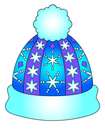 Winter hat with pompom - vector linear color illustration of New Year and Christmas. Warm hat knitted with a pattern of snowflakes - multicolored stained glass or batik. Coloring pages