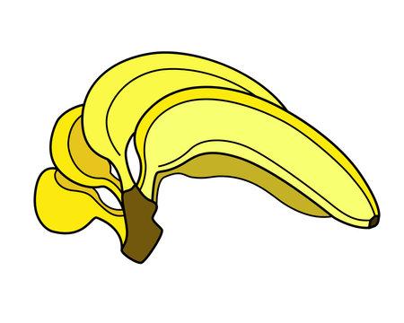 Bananas. Bunch of yellow ripe bananas - vector full color illustration. Sweet tropical healthy fruits - healthy food and vitamins. Vegan food, fruits. Vettoriali