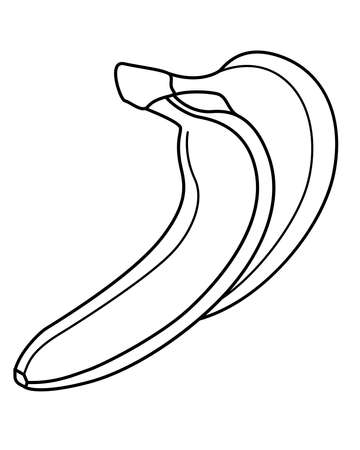 Bananas for coloring book. Two ripe bananas vector linear illustration for coloring. Outline. Sweet tropical healthy fruits healthy food and vitamins. Vegan food, fruits. Vettoriali