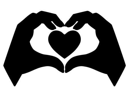 Hands show gesture - heart with heart inside - vector silhouette for  pictogram. Heart sign shown by brushes for a sign or icon. Valentine's Day - heart, love black silhouette. Vettoriali
