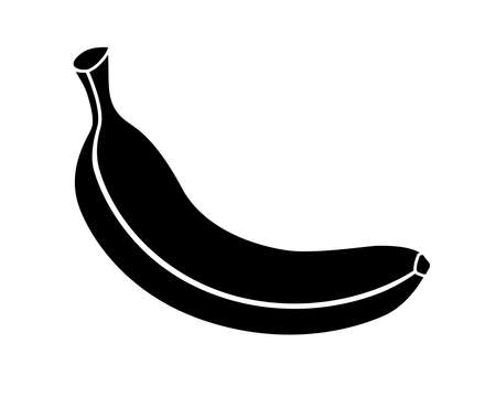Banana - black vector silhouette for  pictogram. Banana is a silhouette of a fruit for identity or sign. Fruit icon. Vettoriali
