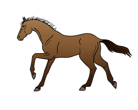 Bay horse galloping - vector full color illustration. A galloping stallion. Beautiful graceful horse on the run. Galloping pony. Vettoriali