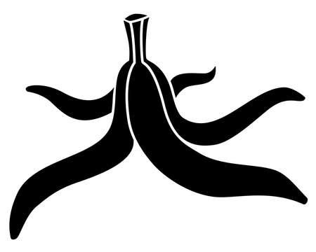 Banana peel - black vector silhouette for   pictogram. Banana peels, ponytail stalk - silhouette for identity, icon or sign. Vettoriali