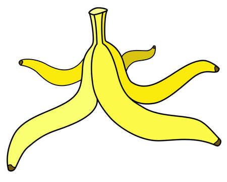 Banana peel - vector full color illustration. Yellow Banana peels, stem stem. Fruit rind on the floor, slip