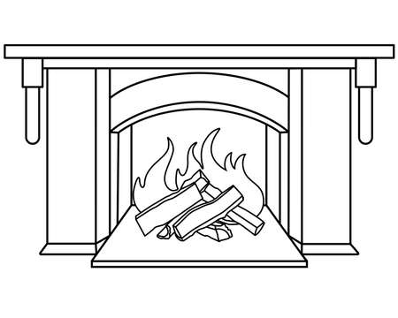 Fireplace  linear picture for coloring. Outline. Vettoriali