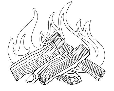 Bonfire - vector linear picture for coloring. Outline. Burning firewood - element for coloring book. A bonfire made of chopped logs. The fire burns on wood fuel. Bonfire folded into a house. Vettoriali