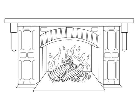 Fireplace with burning wood - vector linear illustration for coloring. Burning hearth. Outline. A fired fireplace, a mantelpiece, decorative masonry - for a coloring book