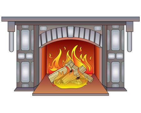 Fireplace with burning wood - vector full color illustration. Burning hearth. Lit fireplace, mantelpiece, decorative masonry. Burning wood, fire. Firelight.