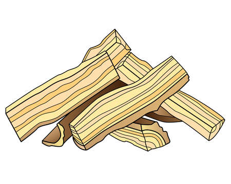 Firewood - vector linear picture for coloring. Outline. Logs cut into four parts and folded into a house. Firewood for a fire or fireplace. Wood. Hearth Fuel - Coloring Book Item.