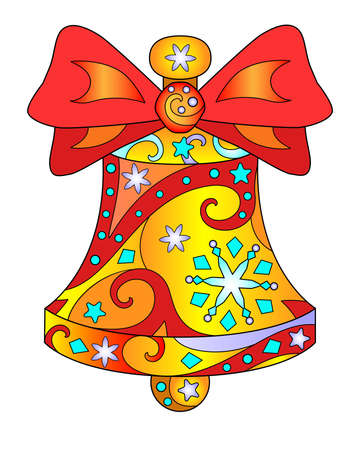 Bell with bow - vector linear full color illustration. Golden festive, Christmas bell with red ribbon, snowflakes, stars and other patterns. Template for stained glass, batik or coloring. Vettoriali