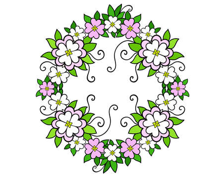 A wreath of flowers and leaves - vector full color illustration. Bright, delicate spring wreath of soft pink and white flowers. Wreath - frame.