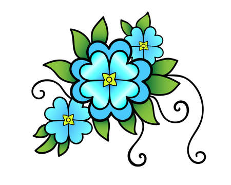 Inflorescence of three blue flowers of different sizes, delicate green leaves and shoots - vector full color illustration. Spring bouquet - top view. Three flowers - a bright print.