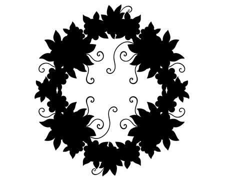 A wreath of flowers and leaves is a black silhouette for  pictogram. Wreath - frame, icon or sign for identity. Silhouette of vegetable garland.