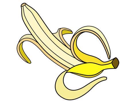 Banana open with peel. Bright yellow ripe peeled banana