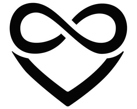 Heart and infinity - polyamory sign - vector silhouette illustration for  , icon or pictogram. A sign of heart and infinity, endless love, a large number of partners for identity. Vettoriali