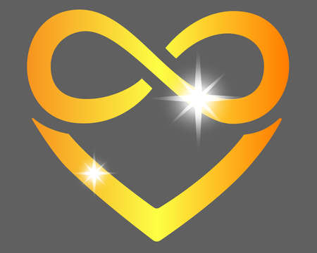Heart with infinity sign - polyamory symbol - vector full color illustration. The golden sparkling sign of infinity and heart is a symbol of endless, eternal love. Polyamory  for Valentine's Day.